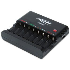 Akku Ladegerät Test - ANSMANN Powerline 8 Akku-Ladegerät für 8x Mignon AA/Micro AAA Akkubatterien mit Entladefunktion, 8fach Lader